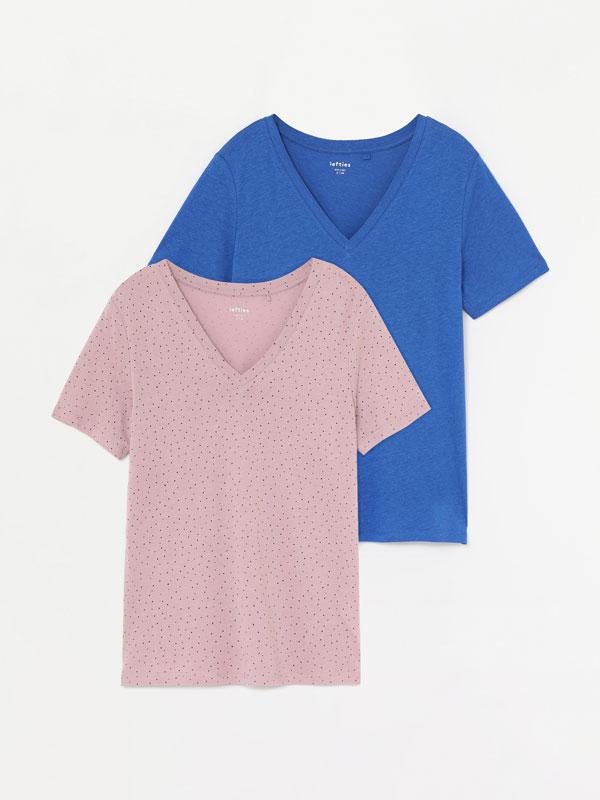 Paquet de 2 samarretes llisa i estampada amb escot en punta
