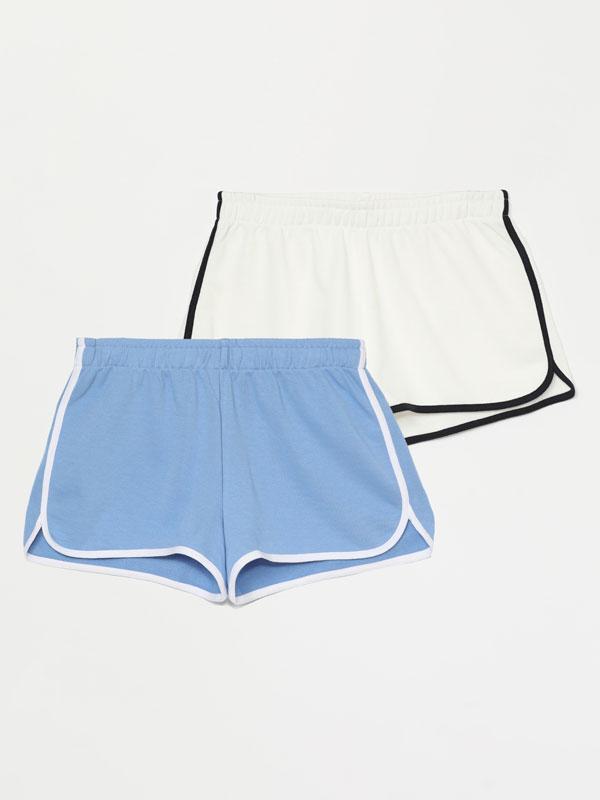 Pack de 2 pantalóns curtos básicos de felpa con reberete
