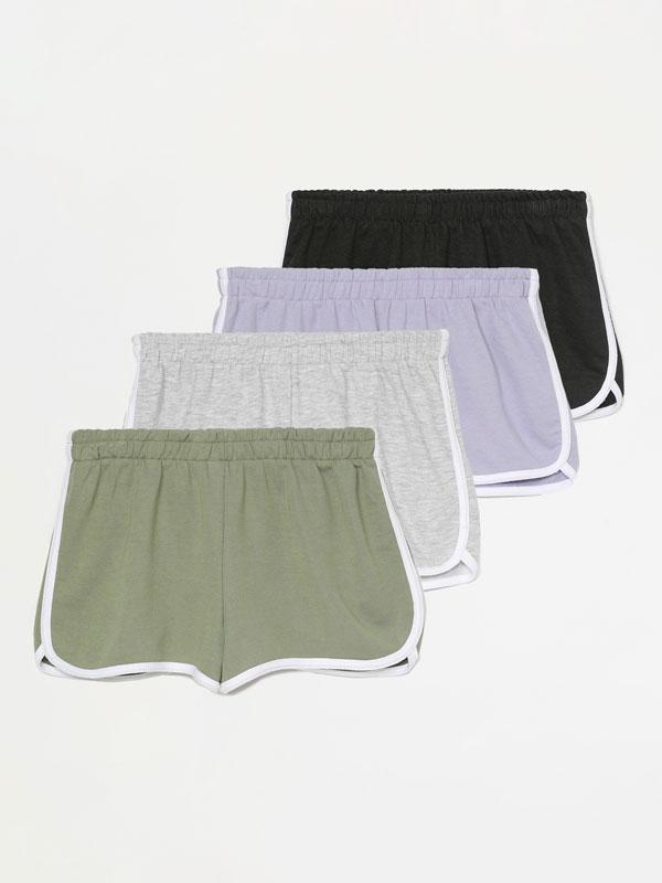 Pack de 4 pantalóns curtos básicos de felpa con reberete