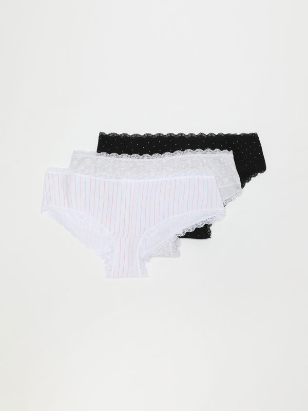 Pack of 3 printed hipster briefs
