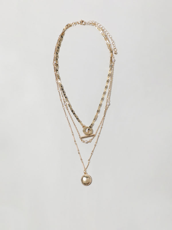 Multi-strand necklace with medallion
