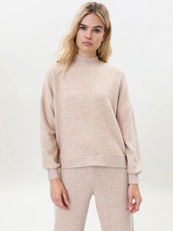 Knit high neck sweatshirt