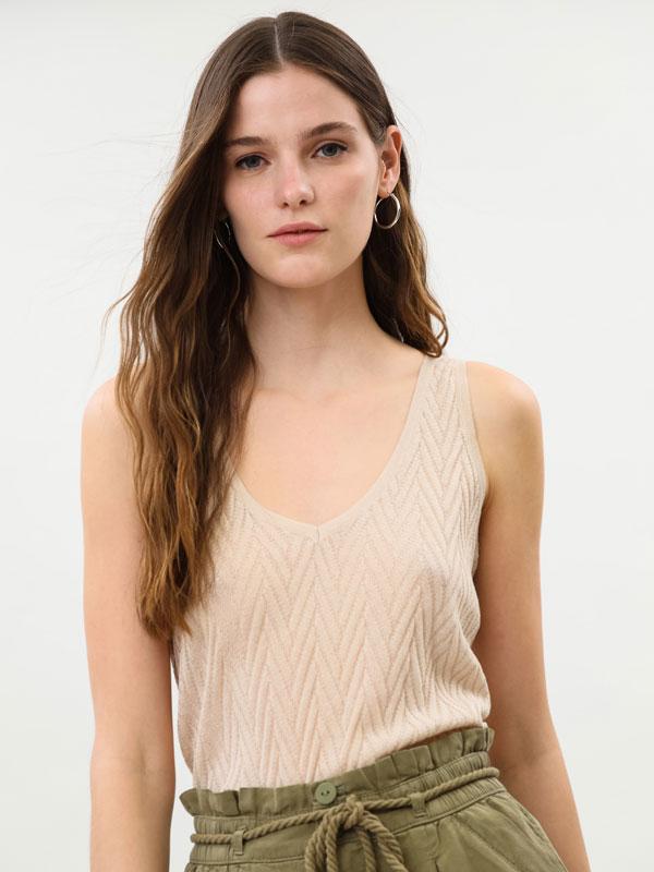 Herringbone knit top