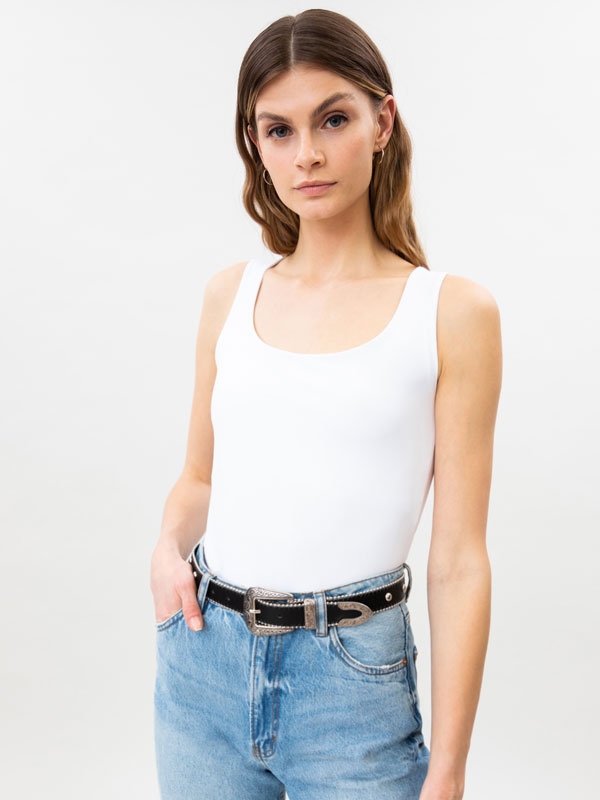Stretch top with wide straps