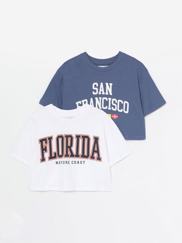 Pack de 2 camisetas crop estampadas