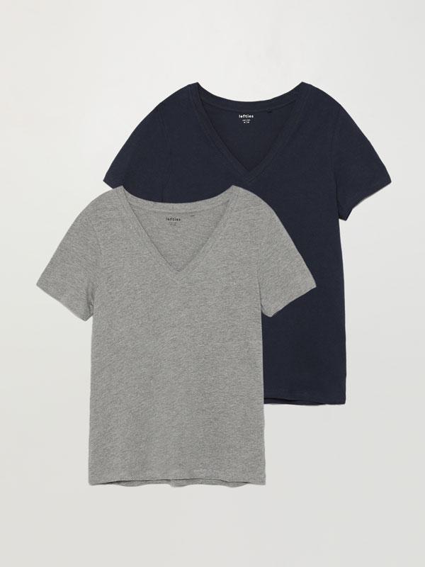 Pack de 2 camisetas básicas con escote en pico