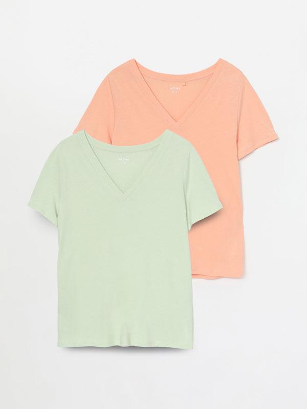 Pack de 2 samarretes amb escot en punta