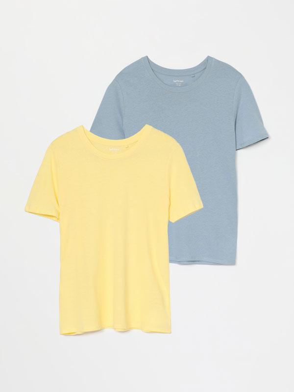 Paquet de 2 samarretes llisa i estampada de coll rodó