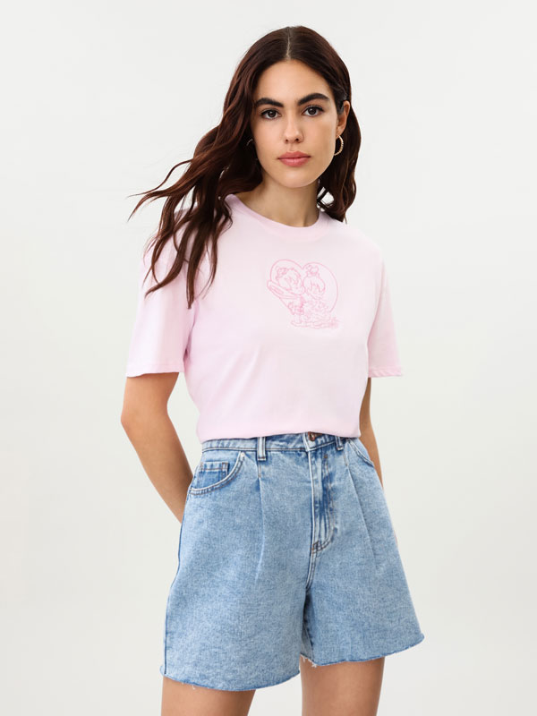 T-shirt with Flintstones embroidery