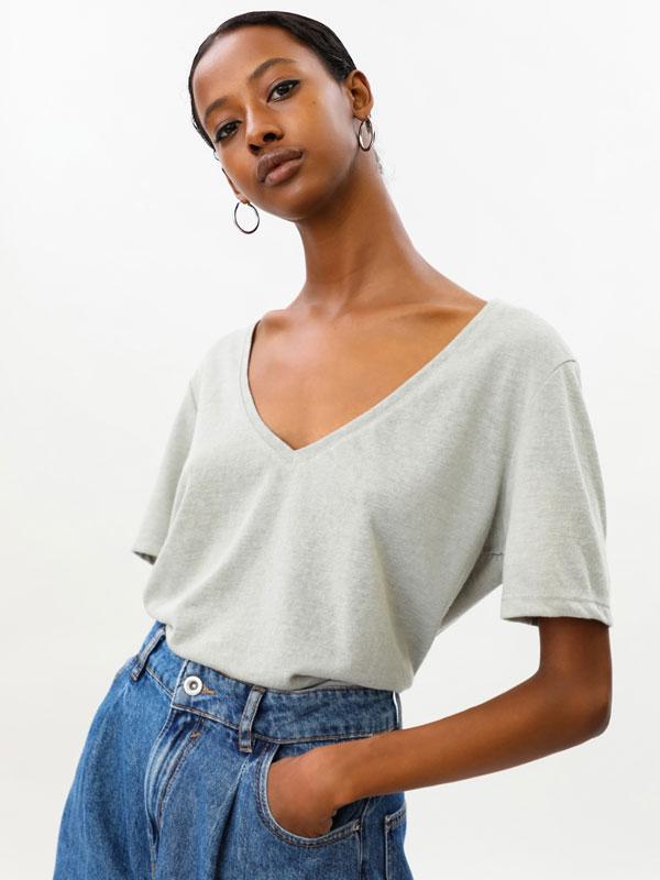 Linen-effect T-shirt
