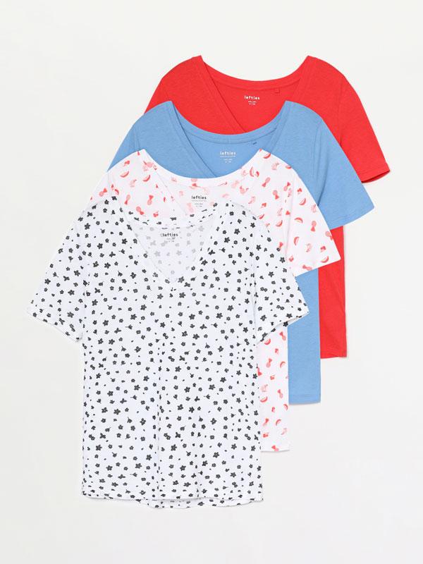 Paquet de 4 samarretes de coll en punta combinades