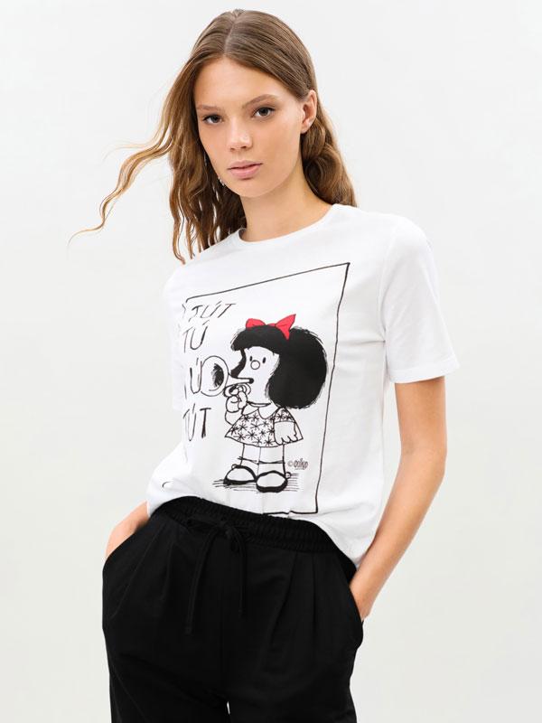 Mafalda with trumpet print T-shirt