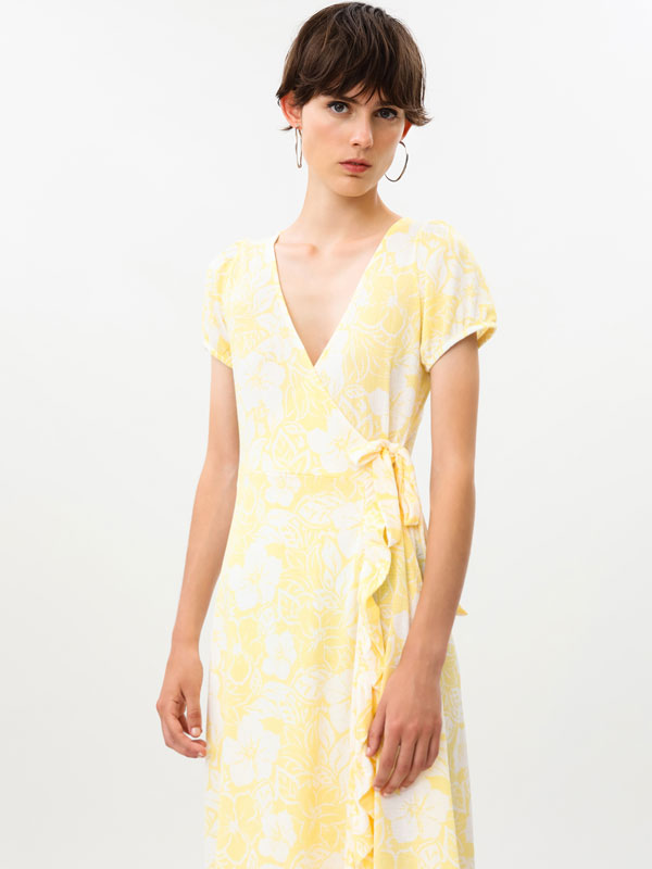 Printed crossover dress