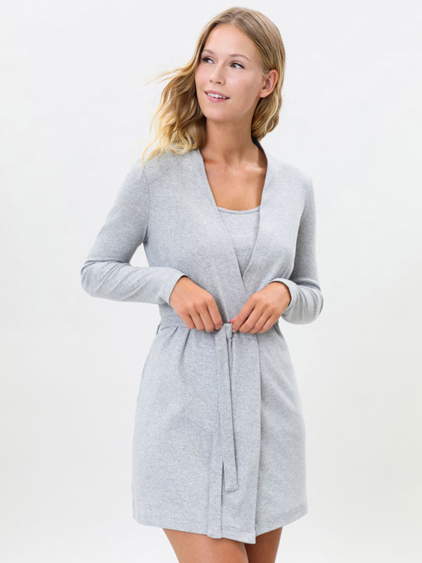 Short ribbed dressing gown