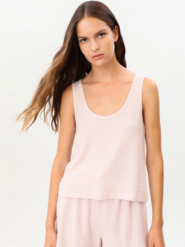 Pink soft-touch pyjama top