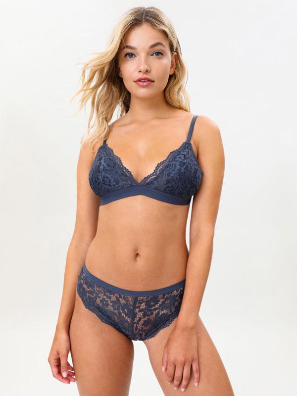 Lace bra and Brazilian briefs set
