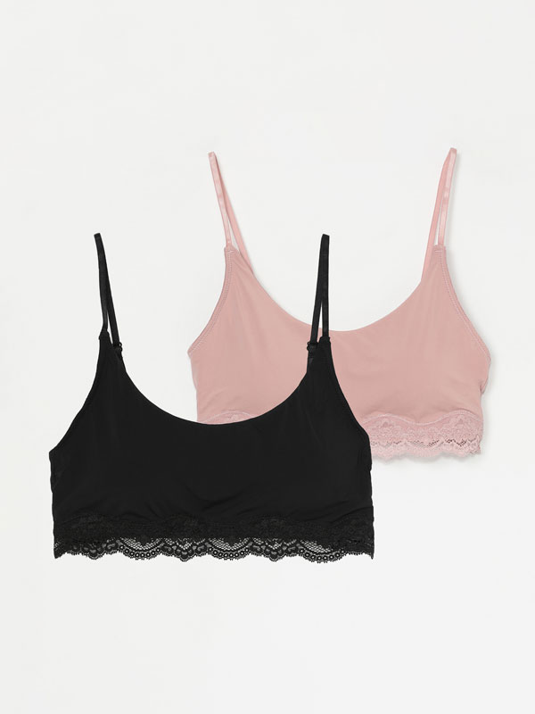 2-Pack of microfibre bras with lace trim