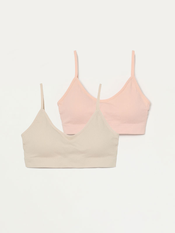 Pack of 2 ribbed bras