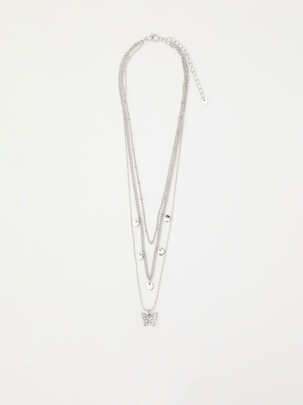 Multi-strand butterfly necklace