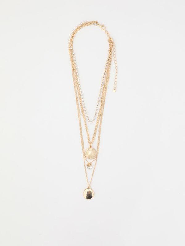 Multi-strand medallion necklace