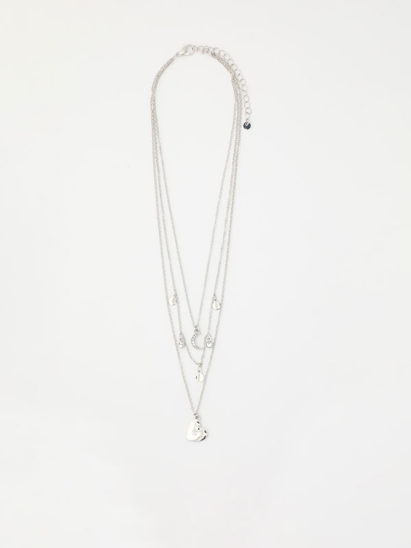 Multi-strand necklace with hearts