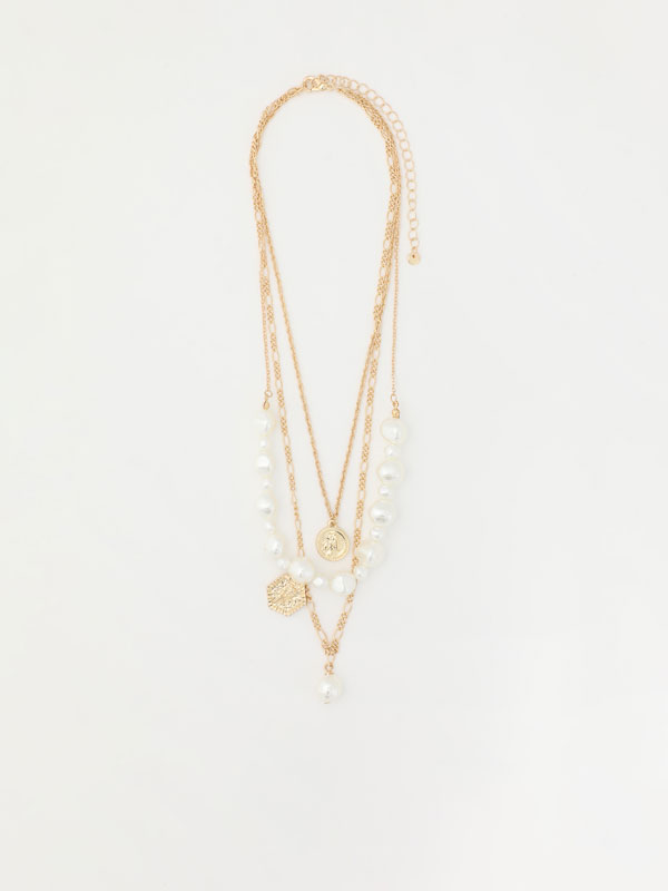 Multi-strand necklace with faux pearls