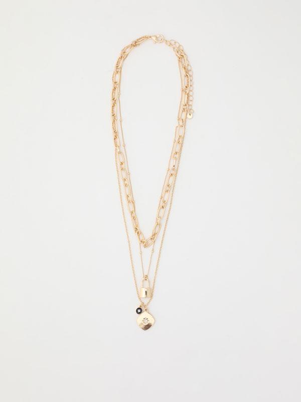 Multi-strand padlock necklace