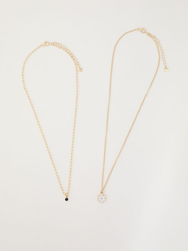 Multi-strand floral necklace