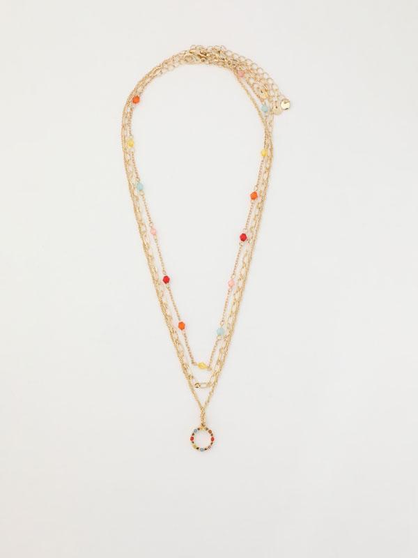 Multicoloured multi-strand necklace