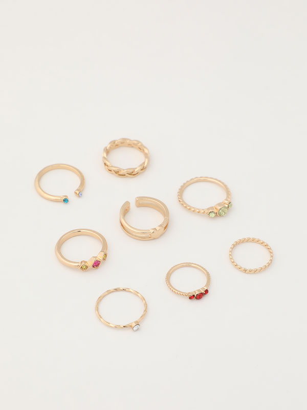 8-pack of coloured rings