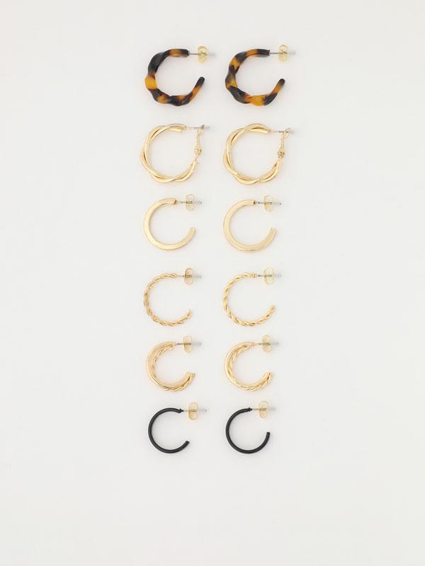 Pack of 6 pairs of assorted hoop earrings