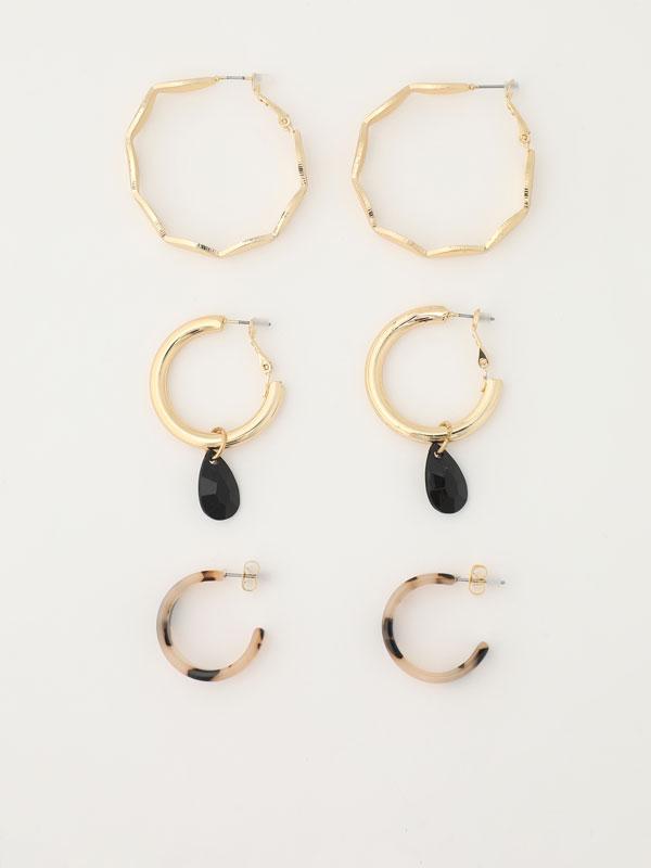 Pack of 3 pairs of assorted hoop earrings