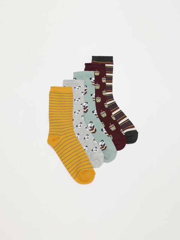 Pack of 5 pairs of printed long socks