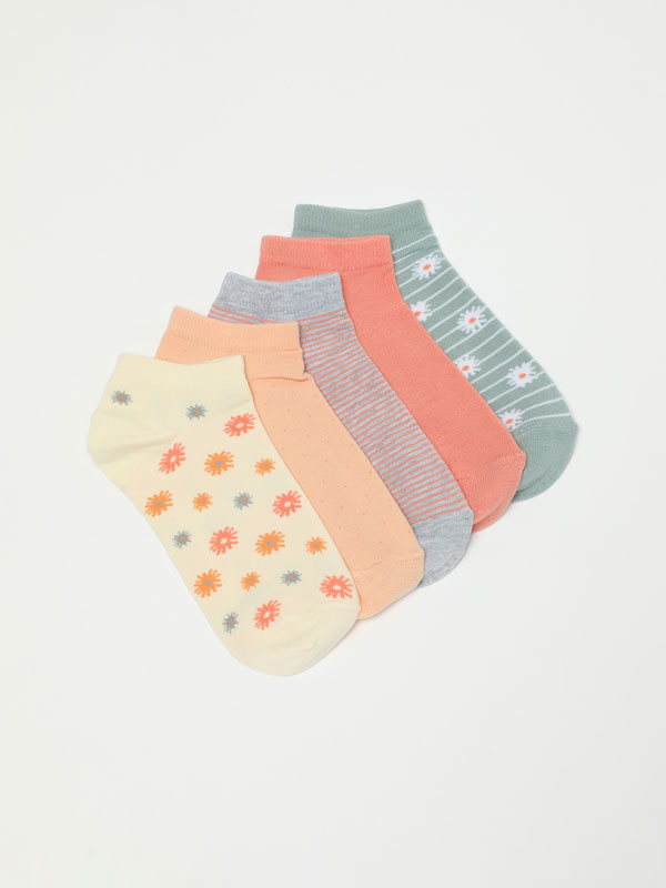 Pack of 5 pairs of assorted ankle socks