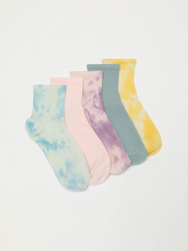 Pack of 5 pairs of long tie-dye socks