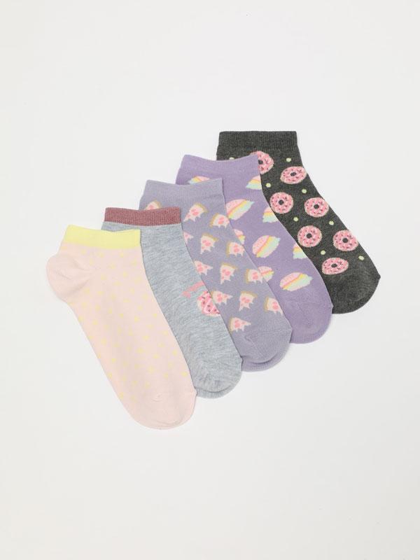 Pack of 5 pairs of printed ankle socks