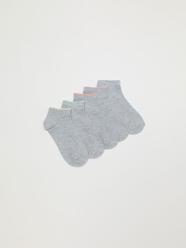 Pack of 5 pairs of ankle socks.