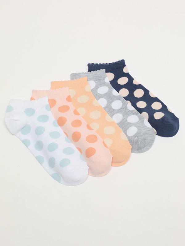 Pack of 5 pairs of polka dot ankle socks