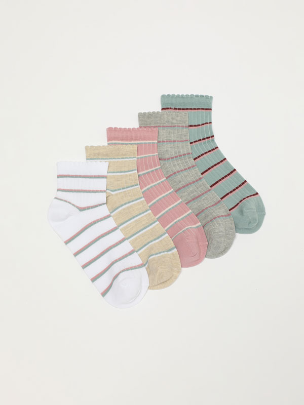 Pack of 5 pairs of striped ankle socks