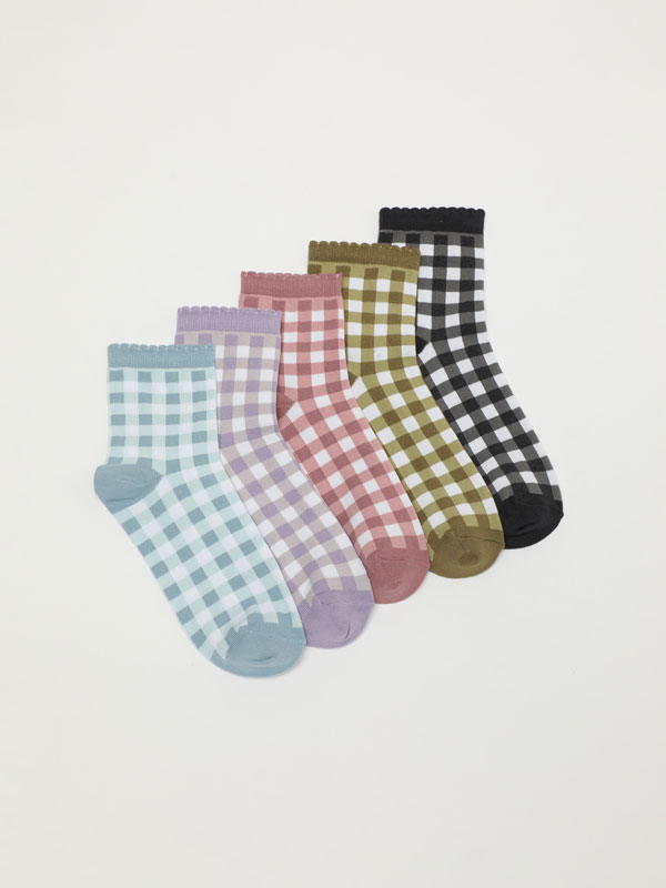 Pack of 5 pairs of socks with a gingham check print.