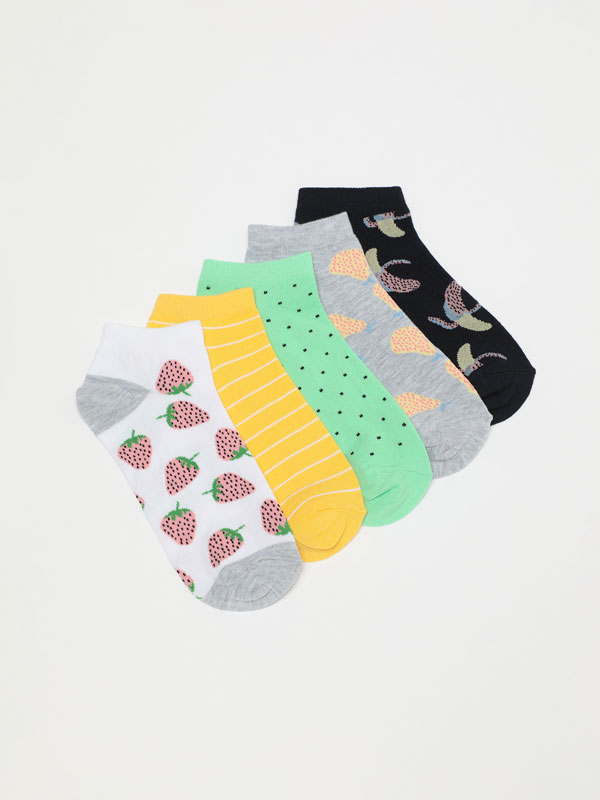 Pack of 5 pairs of fruit ankle socks