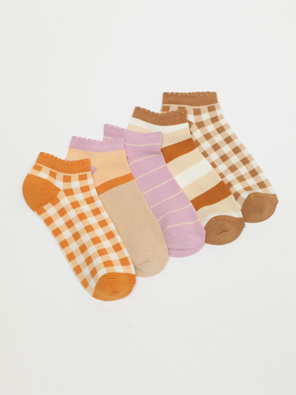 Pack of 5 pairs of check ankle socks