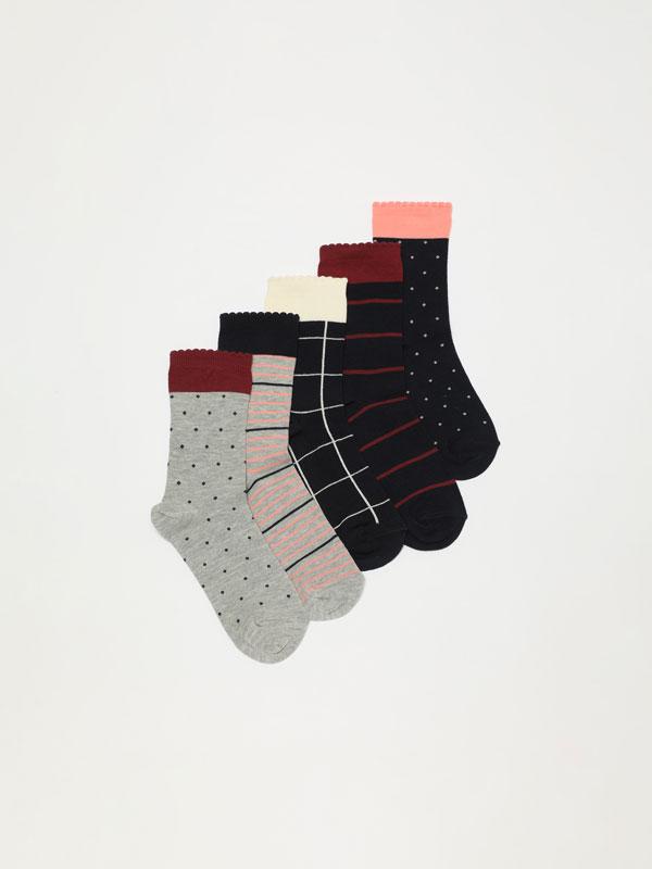 5-Pack of long printed socks