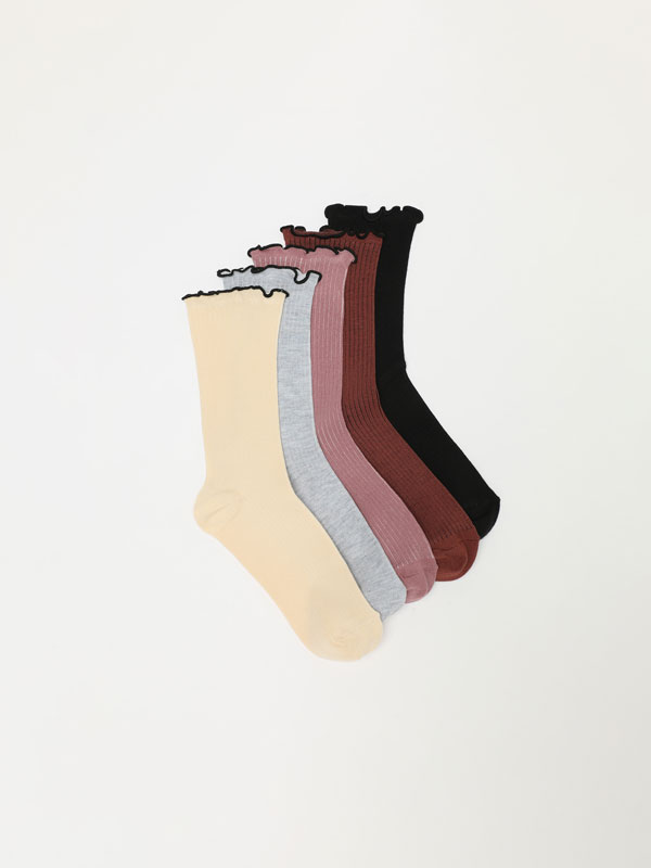 Pack of 5 pairs of socks with scalloped trim