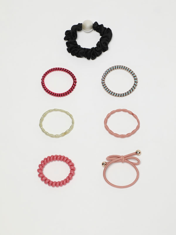7-pack of contrast elastic hair bands