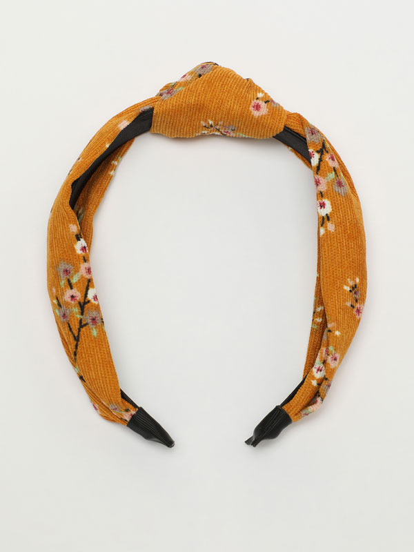 Corduroy floral headband