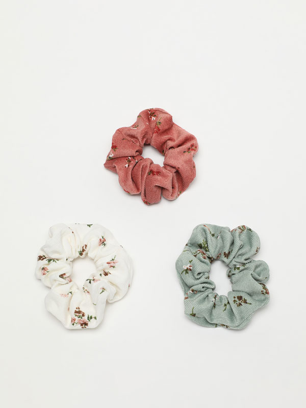 3-Pack of corduroy scrunchies