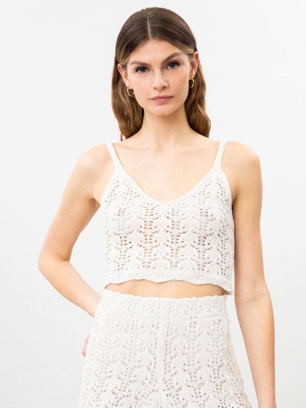 Top-a, crop, crochet ehunezkoa