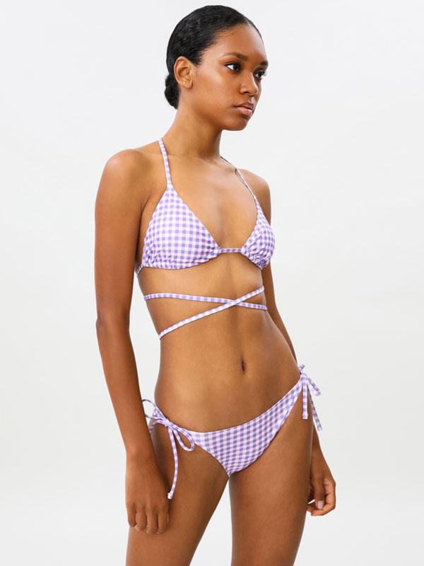 Gingham check triangular bikini