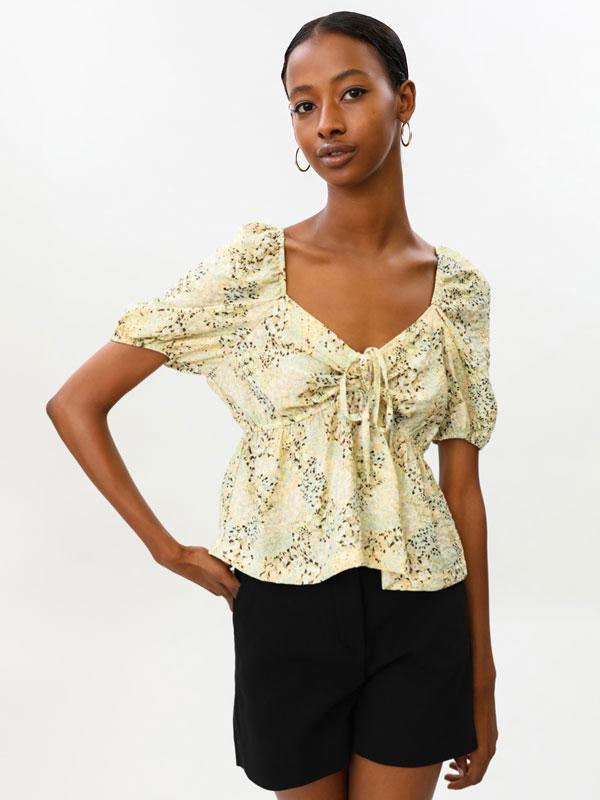 Gathered neckline blouse